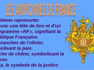L'emblème représente: Pelt avec une tête de lion et d'un monogramme «RF», sig