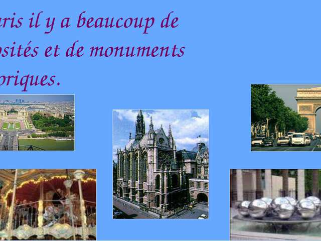 A Paris il y a beaucoup de curiosités et de monuments historiques.