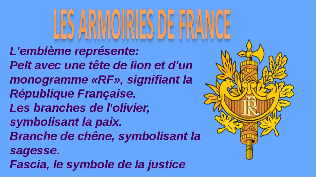 L'emblème représente: Pelt avec une tête de lion et d'un monogramme «RF», sig...