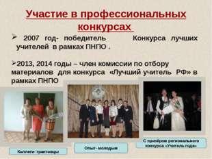 Участие в профессиональных конкурсах 2007 год- победитель Конкурса лучших учи