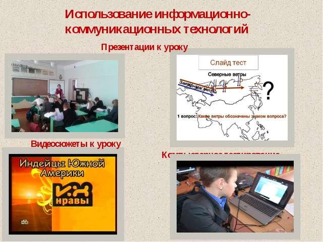 Презентации к уроку Видеосюжеты к уроку Компьютерное тестирование Использова...