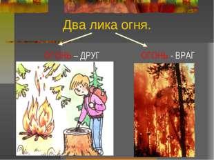 Два лика огня. ОГОНЬ – ДРУГ ОГОНЬ - ВРАГ