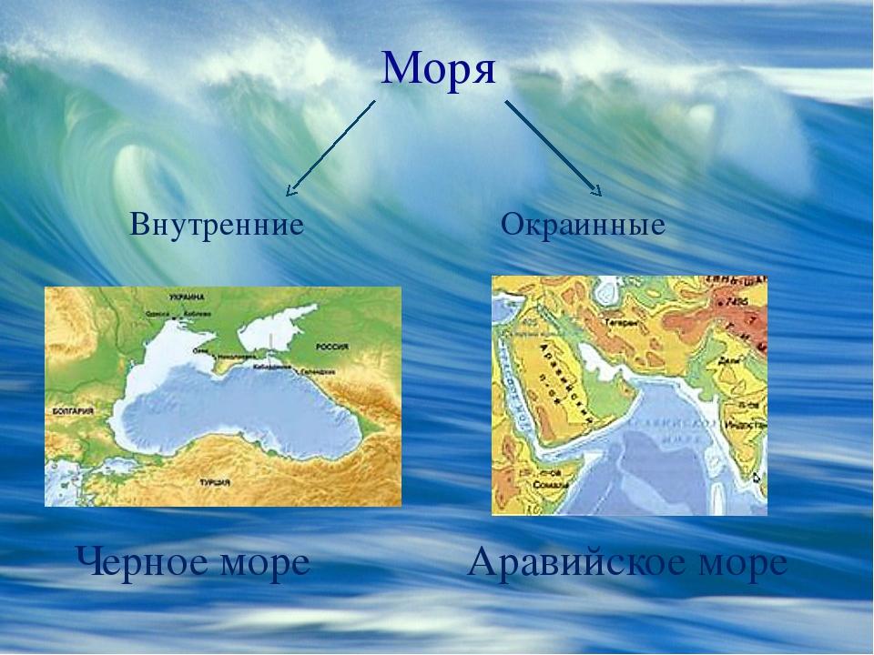 Моря Внутренние Окраинные Черное море Аравийское море
