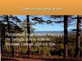 Советы идущему в лес Продумай тщательно маршрут. Не забудь взять компас. Возь