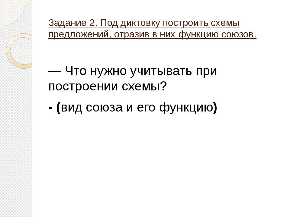Задание 2. Под диктовку построить схемы предложений, отразив в них функцию со...