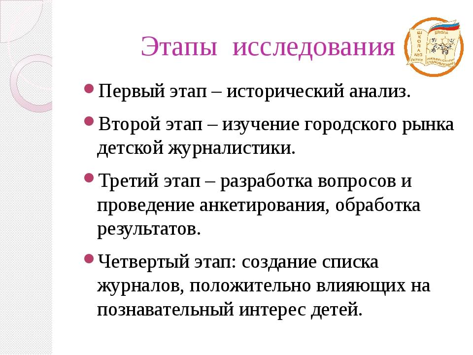 Этапы исследования Первый этап – исторический анализ. Второй этап – изучение...