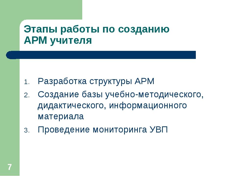 * Этапы работы по созданию АРМ учителя Разработка структуры АРМ Создание базы...