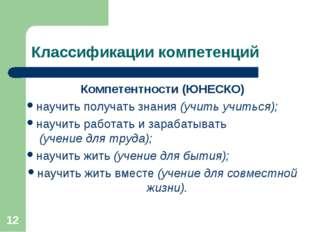 * Классификации компетенций Компетентности (ЮНЕСКО) научить получать знания (
