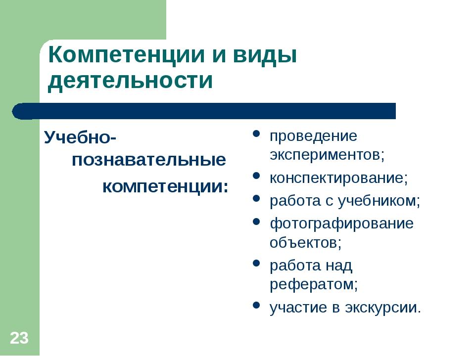 * Компетенции и виды деятельности Учебно-познавательные  компетенции: провед...