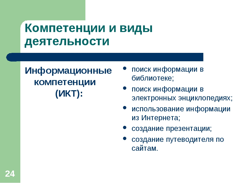 * Компетенции и виды деятельности Информационные компетенции (ИКТ): поиск инф...