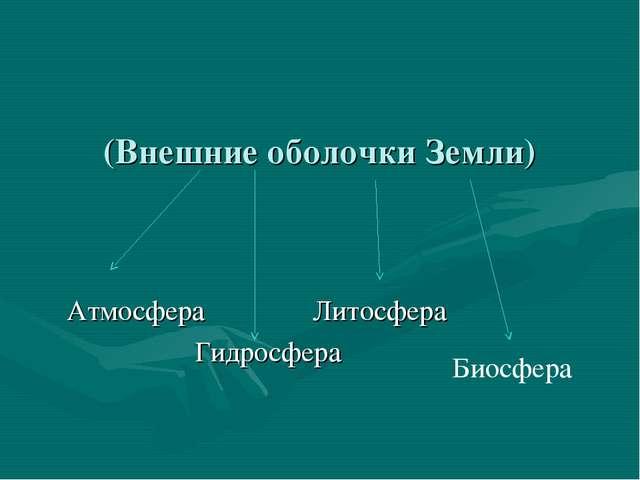 (Внешние оболочки Земли) Атмосфера Литосфера Гидросфера Биосфера