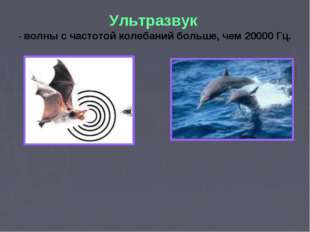 Ультразвук - волны с частотой колебаний больше, чем 20000 Гц.