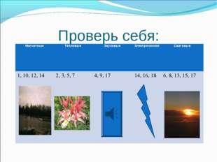 Проверь себя: МагнитныеТепловыеЗвуковыеЭлектрическиеСветовые 1, 10, 12, 1