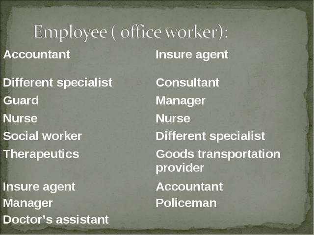 AccountantInsure agent Different specialist Consultant Guard Manager Nurse...