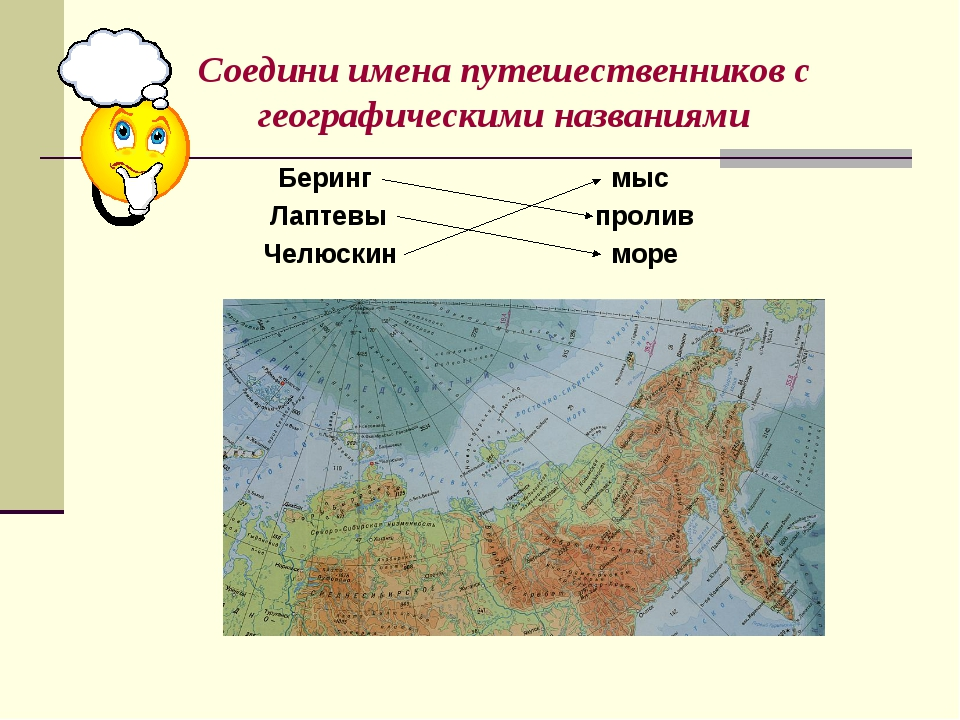 Соедини имена путешественников с географическими названиями Беринг Лаптевы Че...
