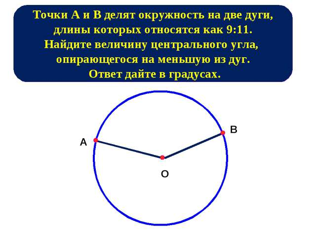 ТочкиAиBделят окружность на две дуги, длины которых относятся как 9:11. Н...