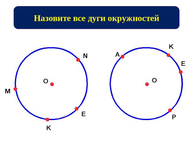 Назовите все дуги окружностей M N K E O O A K E P