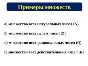 Примеры множеств а) множество всех натуральных чисел (N) б) множество всех це