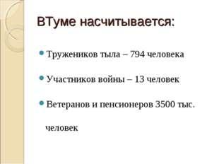 ВТуме насчитывается: Тружеников тыла – 794 человека Участников войны – 13 чел