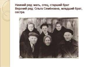 Нижний ряд: мать, отец, старший брат Верхний ряд: Ольга Семёновна, младший бр