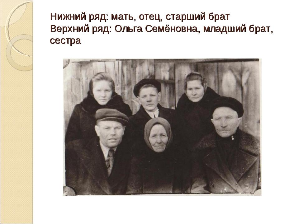 Нижний ряд: мать, отец, старший брат Верхний ряд: Ольга Семёновна, младший бр...