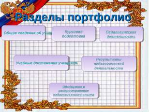 Содержание Раздел I. Общие сведения об учителе Раздел II. Результаты педагог