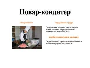 изображениесодержание труда Приготовление холодных закусок, первых, вторых