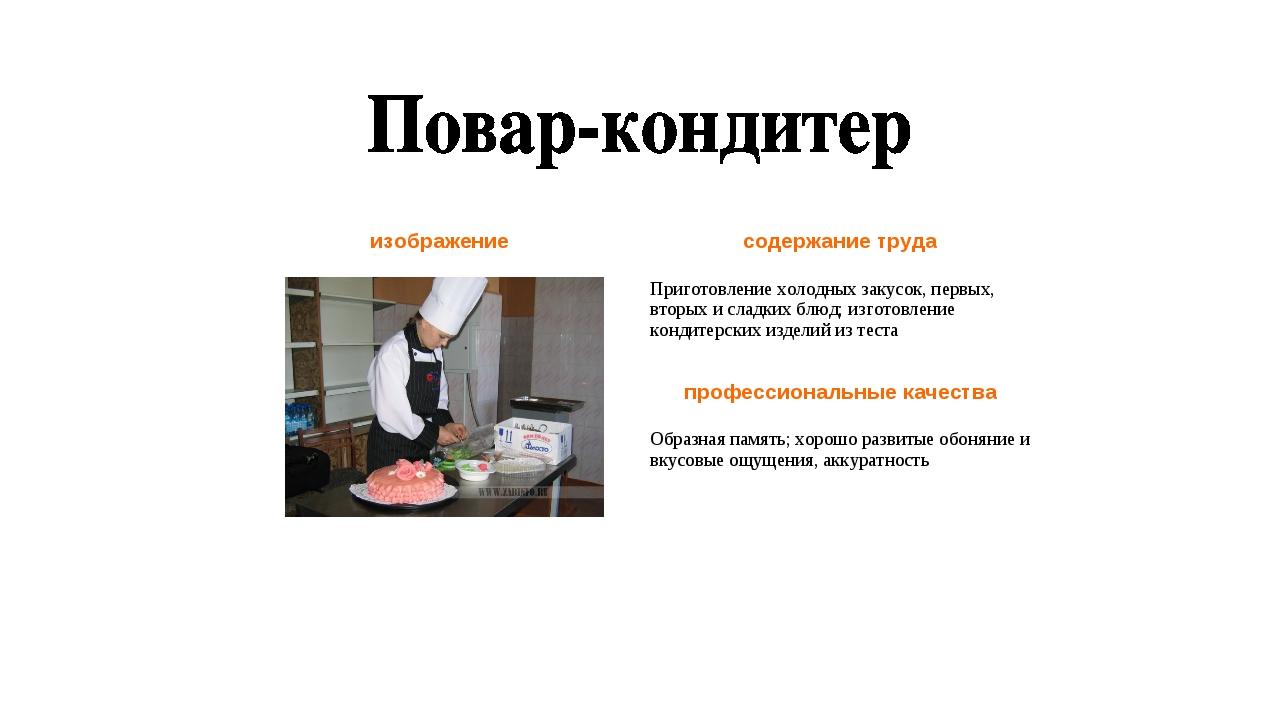 изображениесодержание труда Приготовление холодных закусок, первых, вторых...