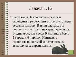 * Задача 1.16 Были взяты 6 кроликов – самок и скрещены с рецессивным гомозиго