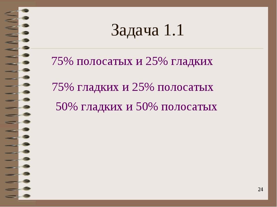 * Задача 1.1 75% полосатых и 25% гладких 75% гладких и 25% полосатых 50% глад...