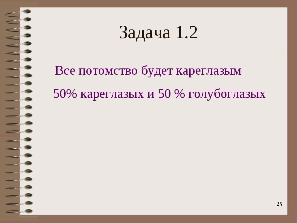 * Задача 1.2 Все потомство будет кареглазым 50% кареглазых и 50 % голубоглазых