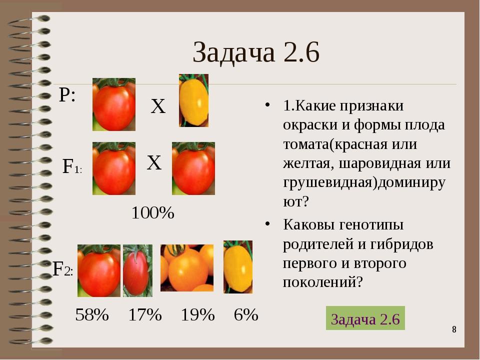 * Задача 2.6 1.Какие признаки окраски и формы плода томата(красная или желтая...