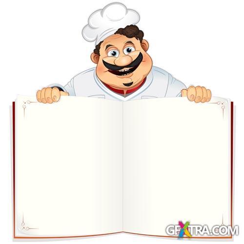 Иллюстрация мультфильм шеф-повар Повар характера с белым книги для меню ресторана Клипарты, векторы, и Набор Иллюстраций Без Опл