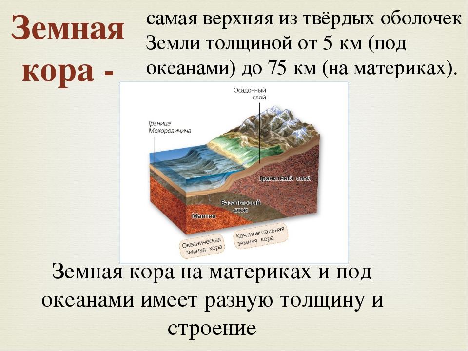 Земная кора на материках и под океанами имеет разную толщину и строение самая...