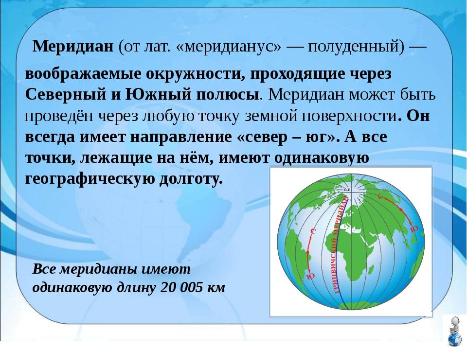 воображаемые окружности, проходящие через Северный и Южный полюсы. Меридиан м...