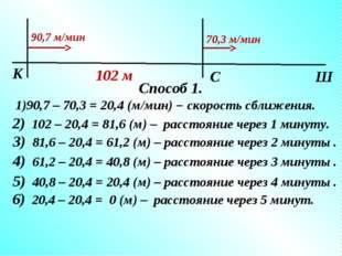 2) 102 – 20,4 = 81,6 (м) – расстояние через 1 минуту. 3) 81,6 – 20,4 = 61,2 (