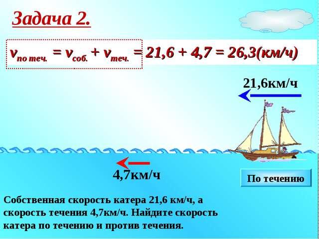 Собственная скорость катера 21,6 км/ч, а скорость течения 4,7км/ч. Найдите ск...