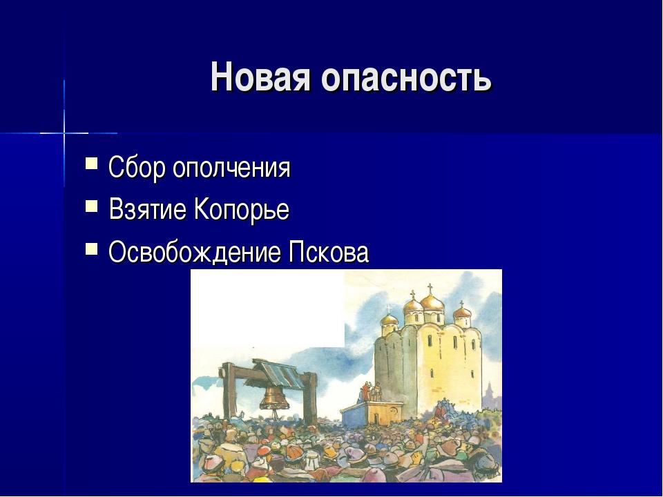 Новая опасность Сбор ополчения Взятие Копорье Освобождение Пскова