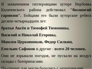 """В захваченном гитлеровцами хуторе Вербовка Калачевского района действовал """"б"""