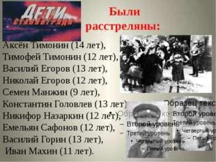 Аксён Тимонин (14 лет), Тимофей Тимонин (12 лет), Василий Егоров (13 лет), Ни