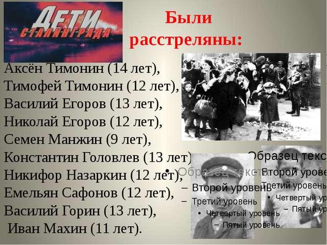 Аксён Тимонин (14 лет), Тимофей Тимонин (12 лет), Василий Егоров (13 лет), Ни...