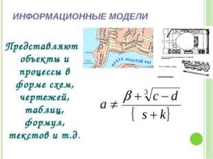 ИНФОРМАЦИОННЫЕ МОДЕЛИ Представляют объекты и процессы в форме схем, чертежей,