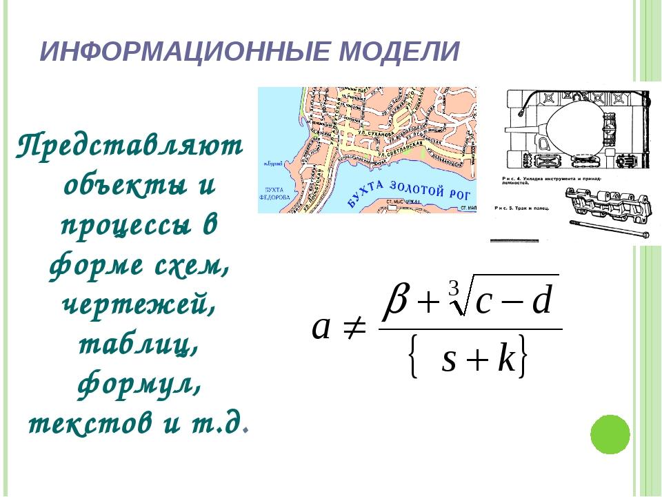 ИНФОРМАЦИОННЫЕ МОДЕЛИ Представляют объекты и процессы в форме схем, чертежей,...