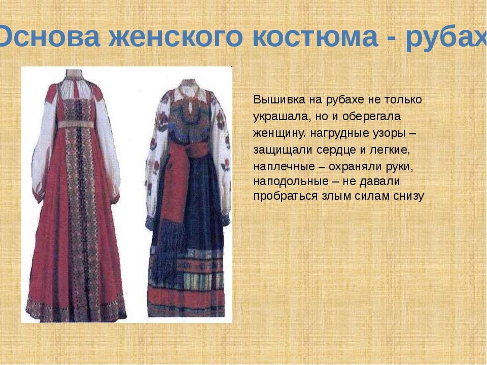 Основа женского костюма - рубаха Вышивка на рубахе не только украшала, но и о...
