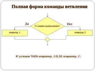 Полная форма команды ветвления оператор_1 оператор_2 Да Нет IF условие THEN о