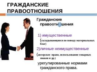 ГРАЖДАНСКИЕ ПРАВООТНОШЕНИЯ Гражданские правоотношения 1) имущественные (склад
