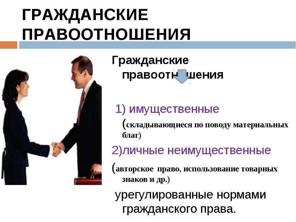 ГРАЖДАНСКИЕ ПРАВООТНОШЕНИЯ Гражданские правоотношения 1) имущественные (склад...