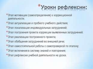 Этап мотивации (самоопределения) к коррекционной деятельности; Этап актуализа