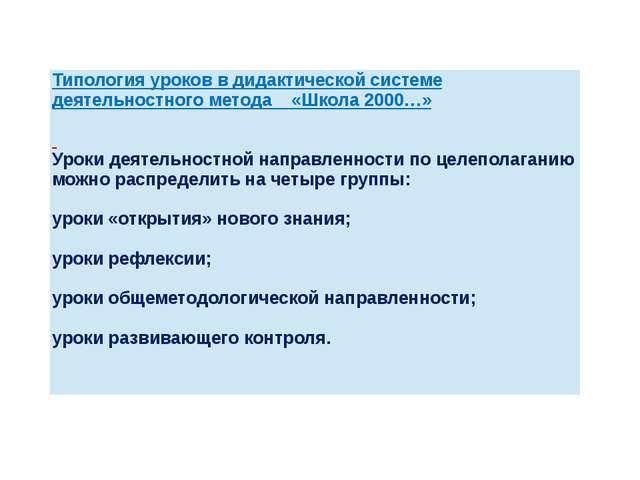 Типология уроков в дидактической системедеятельностногометода «Школа 2000…» У...