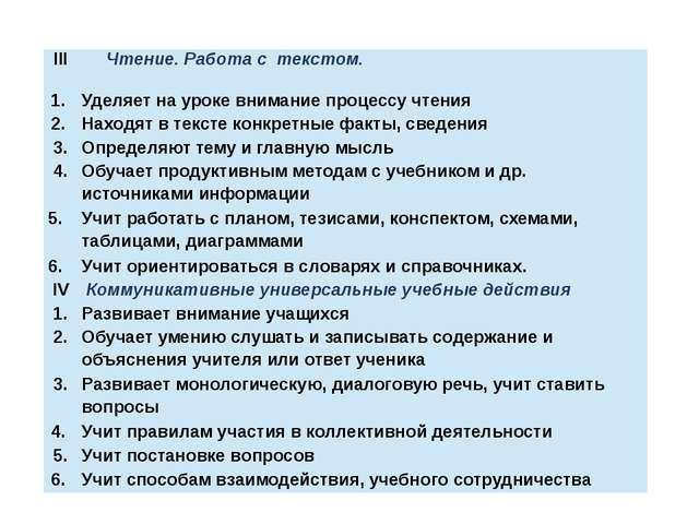 III Чтение. Работа с текстом. 1. Уделяет на уроке внимание процессу чтения 2....